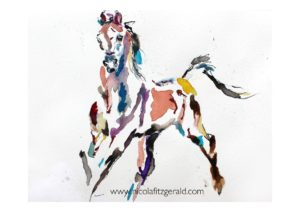 Arab Mare, watercolour and ink