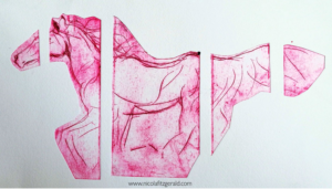 Equus in Red, drypoint etching