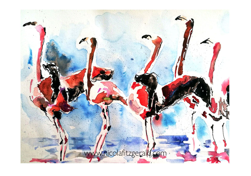 Flamboyance of Flamingos, watercolour and ink