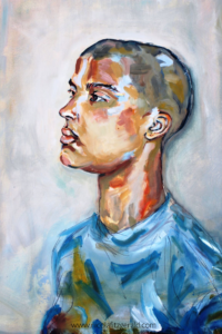 Girl with Shaved Head, oil on board