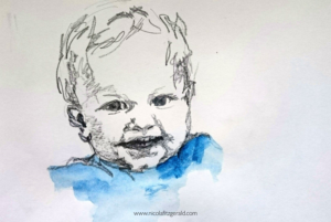 Harry in Blue, pencil and watercolour