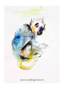 Little Langur Monkey, watercolour and ink