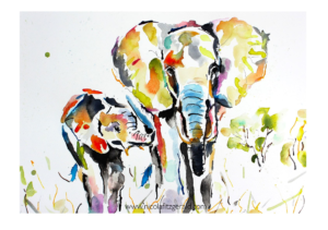 Mother and Calf, watercolour and ink