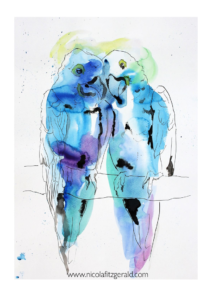 Pair of Macaws, watercolour and ink