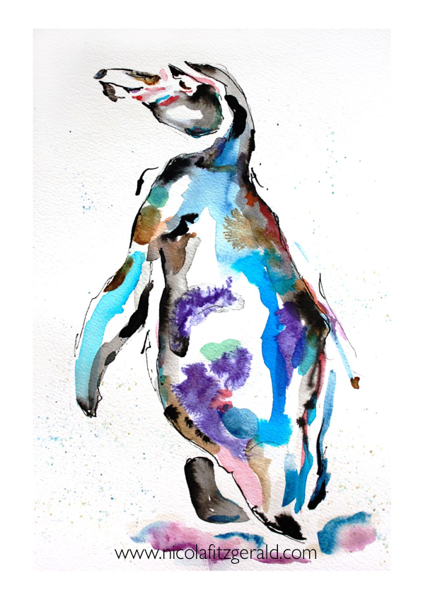 Penguin, watercolour and ink