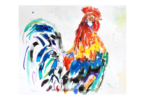 Rooster, watercolour and ink