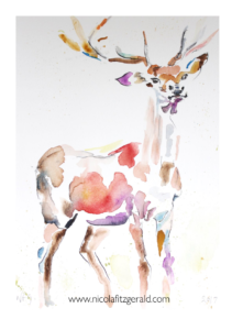 Stag, watercolour and ink