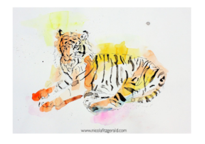 Tiger, watercolour and ink