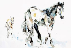 Mare and Foal, watercolour and ink