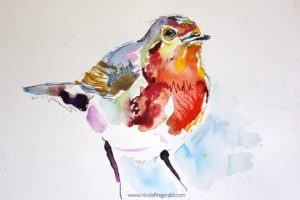 Robin, watercolour and ink