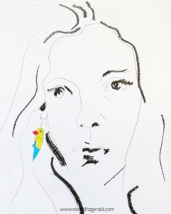 Girl with the Parrot Earring, mixed media on paper